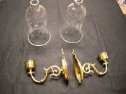 Set Of 2 Baldwin Brass Wall Candle Sconces With Etched Glass Shades