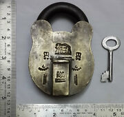 An Old Or Antique Brass Padlock Or Lock With Key Nice Shape And Rich Patina