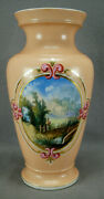 Old Paris Hand Painted Landscape Scene Pink Gold Scrollwork And Peach Vase C1860 B