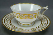 Flight Barr Worcester Gold Diamond And Floral Pattern Tea Cup And Saucer C.1813-1840