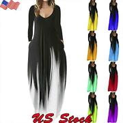 Women Loose V Neck Long Sleeve Maxi Dress Casual Evening Party Dresses Plus Size