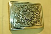 Cigarette Box Vintage Handmade 84 Silver Box Isfahan Craft 1940's Middle East
