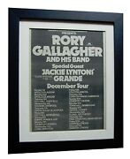 Rory Gallagher+tour+rare Original 1974 Poster Ad+quality Framed+fast Global Ship