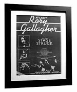 Rory Gallagher+stage Struck+poster+ad+rare Original 1980+framed+fast Global Ship