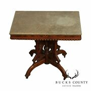 Antique Victorian Eastlake Walnut Marble Top Parlor Table