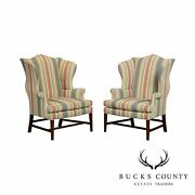 Baker Chippendale Style Pair Mahogany Wingback Chairs
