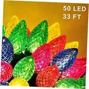 C9 Christmas String Lights, 50 Led 33ft Outdoor Fairy Lights With Multicolor