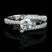 Natural 1.7 Ct Round Solitaire W Side Stones Diamond 18k White Gold Promise Ring