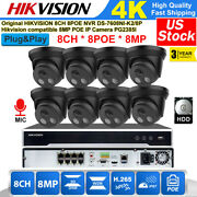Hikvision 8ch 8mp 4k Cctv System Outdoor Ip67 Ir H.265 Poe Security Camera Lot