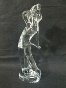 Signed Baccarat French Crystal Figurine Man Golfer Golfing How To Swing Statue