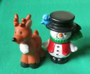 Fisher Price Little People 2004 Christmas Tree Lighting 2 Pc Snowman And Reindeer