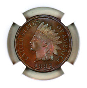 1887 Pf66 Bn Ngc Indian Head Penny Proof Example Superb Eye-appeal