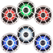 Wet Sounds Bundle 3 Pair Xs 650 Series Silver Grill 6.5 Speakers With Rgb Led