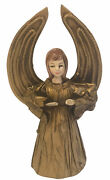 Christmas Tree Angel Topper Gold Crepe Paper Mache 7 High