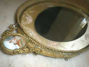 Amazing Large 22 French Antique Bronze Mirror Plateau,sevres Plaques Tray