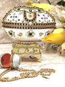 Faberge Egg Jewelry Box Gift For Women + Faberge Egg Necklace 24k Gold Real Egg