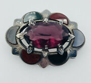 Antique Victorian Scottish Sterling Amethyst And Multi Color Agate Pin