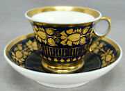 Old Paris Gold Acanthus Leaves And Cobalt Ring Handle Tea Cup And Saucer C.1810-1830