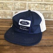 Vintage Ford Trucker Hat Patch Snapback Louisville Ky Blue White Mesh Farm Seed