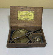 Antique Wandt Avery Hanging Balance Scale In Original Wooden Box/ 6 Brass Weights