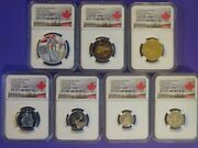 2020 Canadian Navy V-e Day 75 Sp Edition Silver Dollar Proof 7 Pc.set Pf69 Ucam
