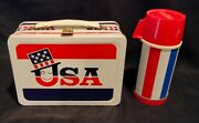 1973 Usa Wake Up America Lunch Box And Thermos Vintage Very Rare Lunchbox