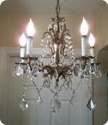 Vtg Antique Brass And French Czech Crystals Small Chandelier 5 Lights Hanging Lamp