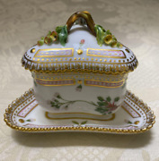 Royal Copenhagen Flora Danica Custard Cup And Tray Made In Denmark Used