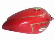 Fit For - Bsa B31 Red Painted Steel Gas Petrol Fuel Tank With Brass Cap And Tap