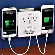 3 Way Surge Protected Outlet Multiplier With 2 Usb Ports And Cell Phone Holders