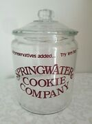 Vtg Large Springwater Cookie Company Countertop Retail Store Display Glass Jar