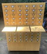 Rare Vintage Wood Library Card Catalog Cabinet 60 Drawers W/3 Pull Out Shelves