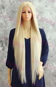 Extra Long Straight Heat Ok Lace Front Human Hair Blend Wig Light Blonde Evfn
