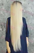 Extra Long Straight Lace Front Human Hair Blend Wig Rooted Light Blonde Evfn