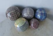 5 Victorian Carpet Balls Bowling Game Multicolor Blue Green Maroon Yellow 1800s