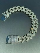 White Gold Plated 925 Sterling Silver Natural Moissanite Cuban Bracalet 8 Inch