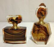 2 Glass Perfume Bottles Brown Milky Heavy Crystal-like W / Dippers Multi-faceted