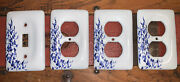 Leviton Porcelain Blue Vine Flower Receptacle 3 Outlet Covers And 1 Light Switch