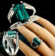 Custom 14kt White Gold Long Emerald Cut Lab Emerald And Natural Diamond Ring 1965