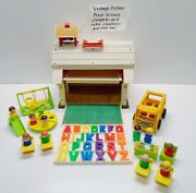 Vintage Fisher Price Little People Play Family School100 Complete And Mini Bus