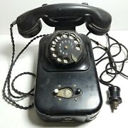 Vintage Black Coin Token Operated Rotary Pay Phone No Key Needs Repair