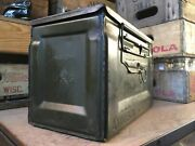 Vintage Us Wwii Metal 50 Cal. M2 Ammo Ammunition Can Box Flaming Bomb Modern