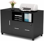 Lateral File Cabinet With Drawer Open Shelves And Door Storage Black Printer Stand