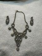 Vintage Unmarked Pagent Worn Costume Jewelry Necklace And Clip On Earrings