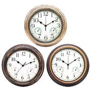 Silent Wall Clock With Temperature And Humidity Clocks For Kitchen Office