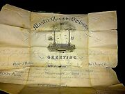 Master Mason Antique 1829 James Boyd Certificate Orig In Booklet Poor Cond