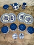 Rare Early American Colonial Tin Litho Childs Teaset Ohio Art Co. 18 Pc