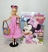Barbie Doll Blonde Pink Halloween Costume Ooak Disney Minnie Mouse Figure And Book