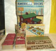 Vintage Halsam Wooden American Bricks Set 60/1 And 60/2 W/instructions And Box