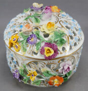 Carl Thieme Dresden Hand Painted Floral Encrusted Reticulated Trinket Box C 1901